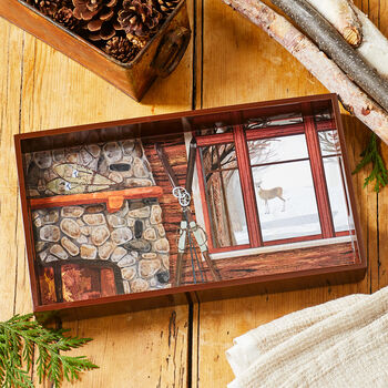 Winter Chalet Wooden Tray