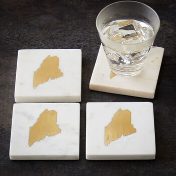 White Marble Maine Coaster (Set of 4)