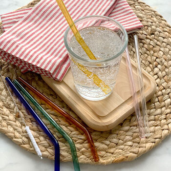 Colored Reusable Glass Straws (Set of 6)