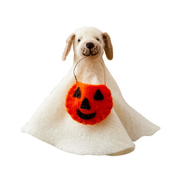 Felt Dog in Ghost Costume
