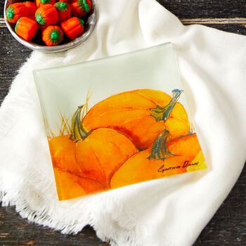 Pumpkin Glass Plate