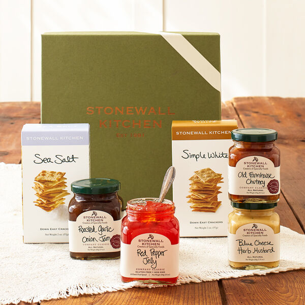 Surprise someone with a unique collection that's deliciously savory. Loaded with bold, robust flavors and a variety of crispy, flavorful crackers, it's a great gift for a host or hostess, to say thank you or as a way of introducing someone to the tasty world of Stonewall Kitchen.