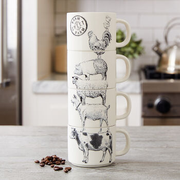Stoneware Farm Animals Stacked Mugs (Set of 4)