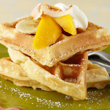 Toasted Coconut and Banana Waffles