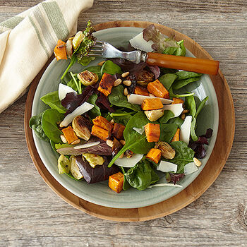 Maple Bacon Balsamic Roasted Vegetable Salad