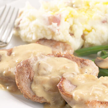 Pork Medallions with Roasted Apple Grille Cream Sauce