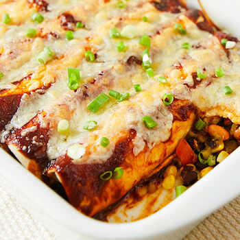 Bean and Corn Enchiladas with Maple Chipotle Grille Sauce