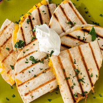 Caramelized Onion & Aged Cheddar Quesadillas