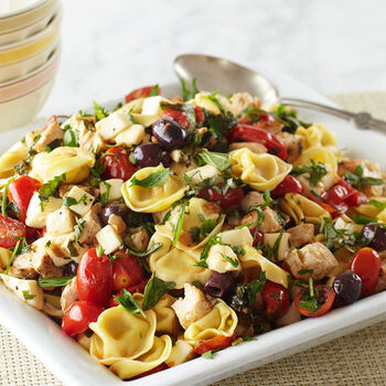 Pasta Rustica with Fresh Mozzarella, Olives and Grilled Chicken