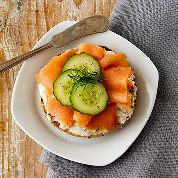 Roasted Garlic Cream Cheese topped with Salmon Bagel