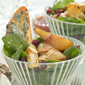Winter Spinach Salad with Roasted Pears and Blue Cheese Toasts