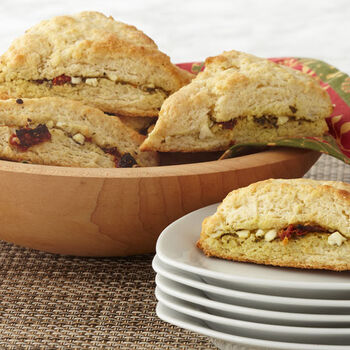 Pesto, Sun Dried Tomato and Feta Scones