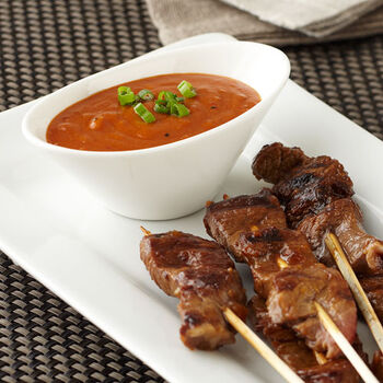Grilled Teriyaki Steak Skewers with Roasted Garlic Peanut Sauce