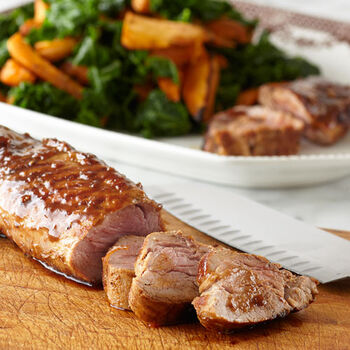 Grilled Pork Tenderloin with Balsamic Roasted Sweet Potatoes & Kale