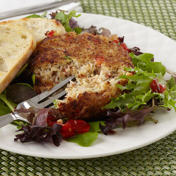 Crab Cakes Over Field Greens