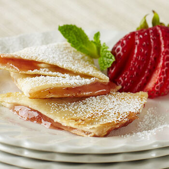 Strawberry Apple Rhubarb Dessert Quesadillas