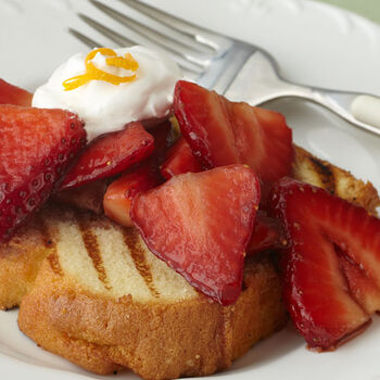 Grilled Pound Cake and Aged Balsamic Macerated Strawberries