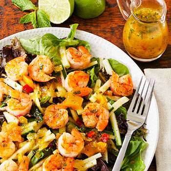 Grilled Shrimp Salad with Mango Dressing