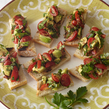 Crostini with Tomato, Avocado, Red Onion and Balsamic Dressing