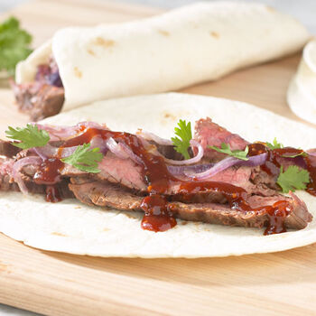 Barbecued Steak Wrap-Ups with Maple Chipotle Grille Sauce